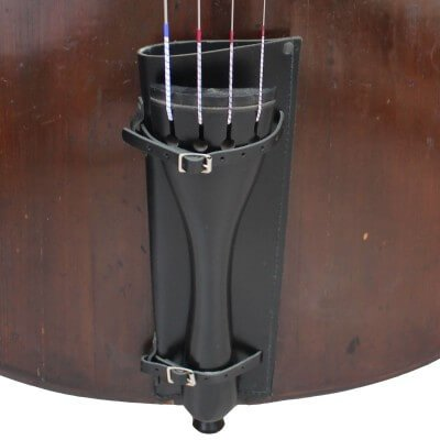 Close up fitted of Slim Black Double Bass Bow Quiver by Bass Bags