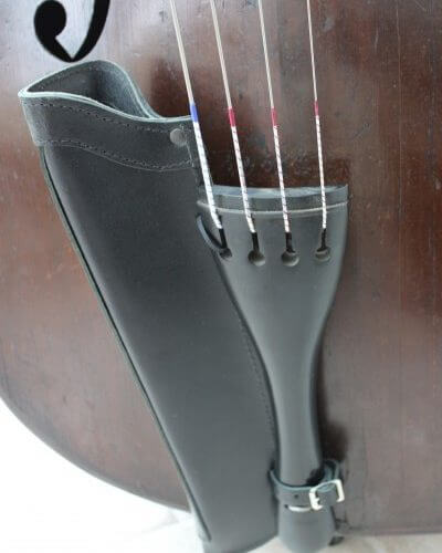Close up of black leather double bass bow quiver fitted