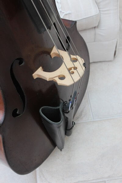 Black leather double bass bow quiver fitted