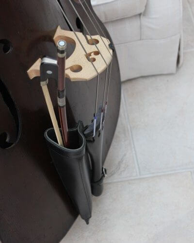 Black leather double bass bow quiver with bow inserted
