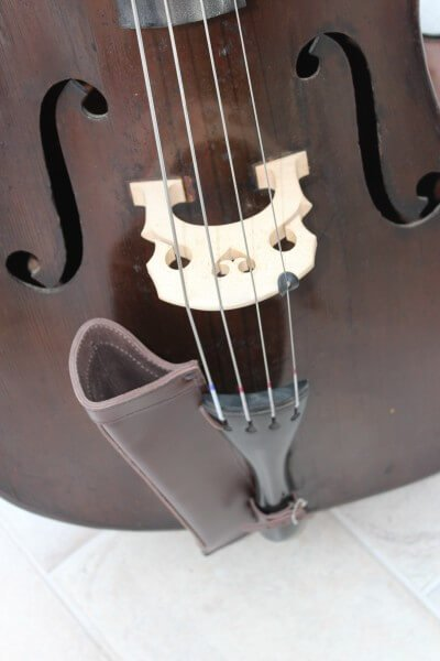 Brown leather double bass bow quiver fitted