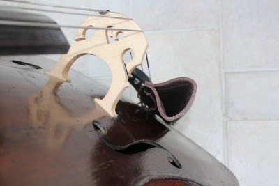 Players view of brown leather double bass bow quiver