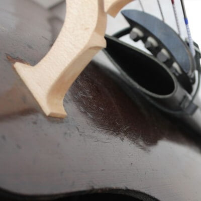 Players view of Slim Black Double Bass Bow Quiver by Bass Bags