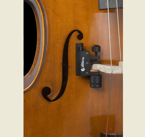 Realist Cello SoundClip Fitted to Cello Bridge