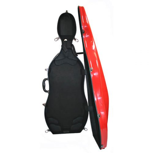 Red Sinfonica Cello Case Open
