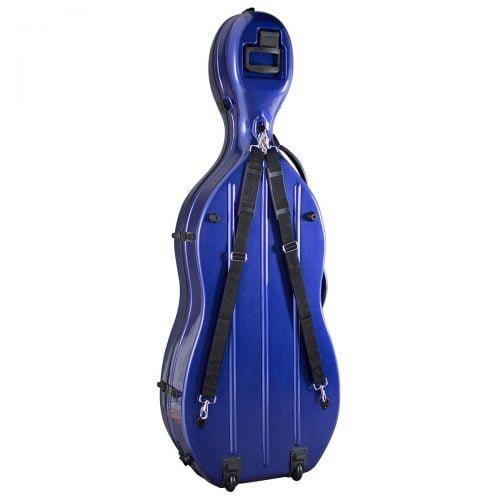 Hidersine Fibreglass Cello Case Blue Rear View