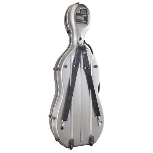 Hidersine Fibreglass Cello Case Grey Rear View