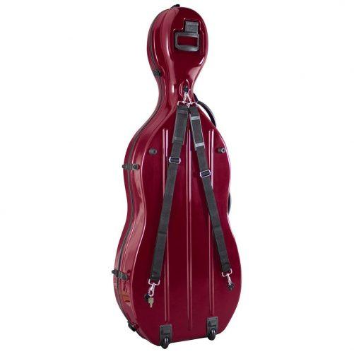 Hidersine Fibreglass Cello Case Wine Red Rear View