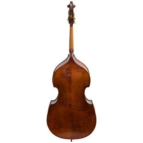 Back view of Eastman VB105 double bass fitted with an adjustable bridge and Spirocore strings