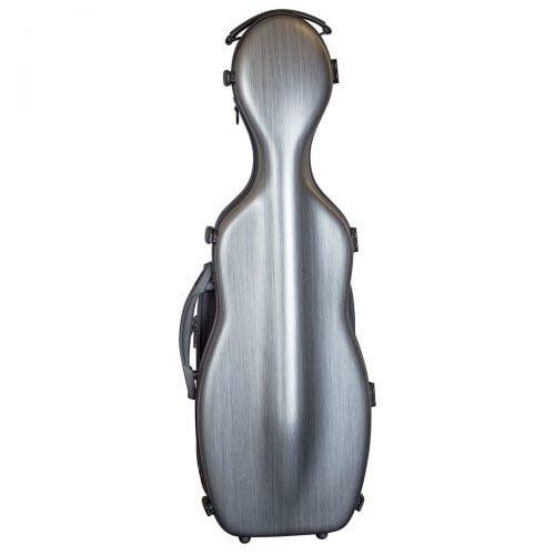 Hidersine Violin Case Polycarbonate Gourd Brushed Silver Front
