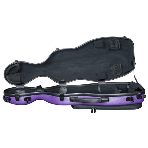 Hidersine Violin Case Polycarbonate Gourd Brushed Purple Open
