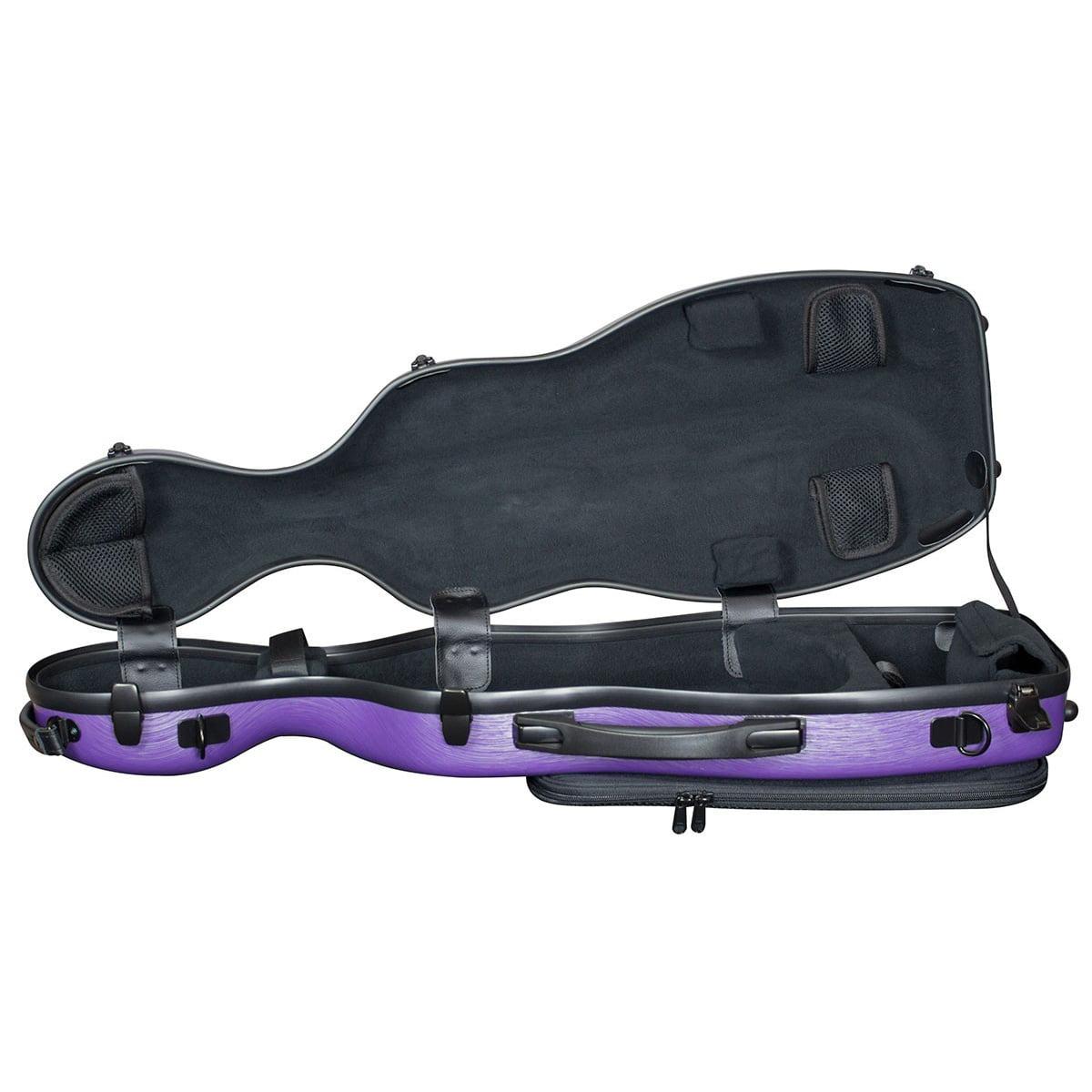 Hidersine Violin Case Polycarbonate Gourd Brushed Purple Open