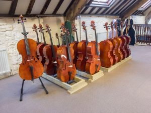 Our Cellos on display for sale