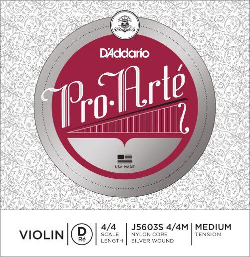Pro Arte Violin D String 4/4 Medium Silver