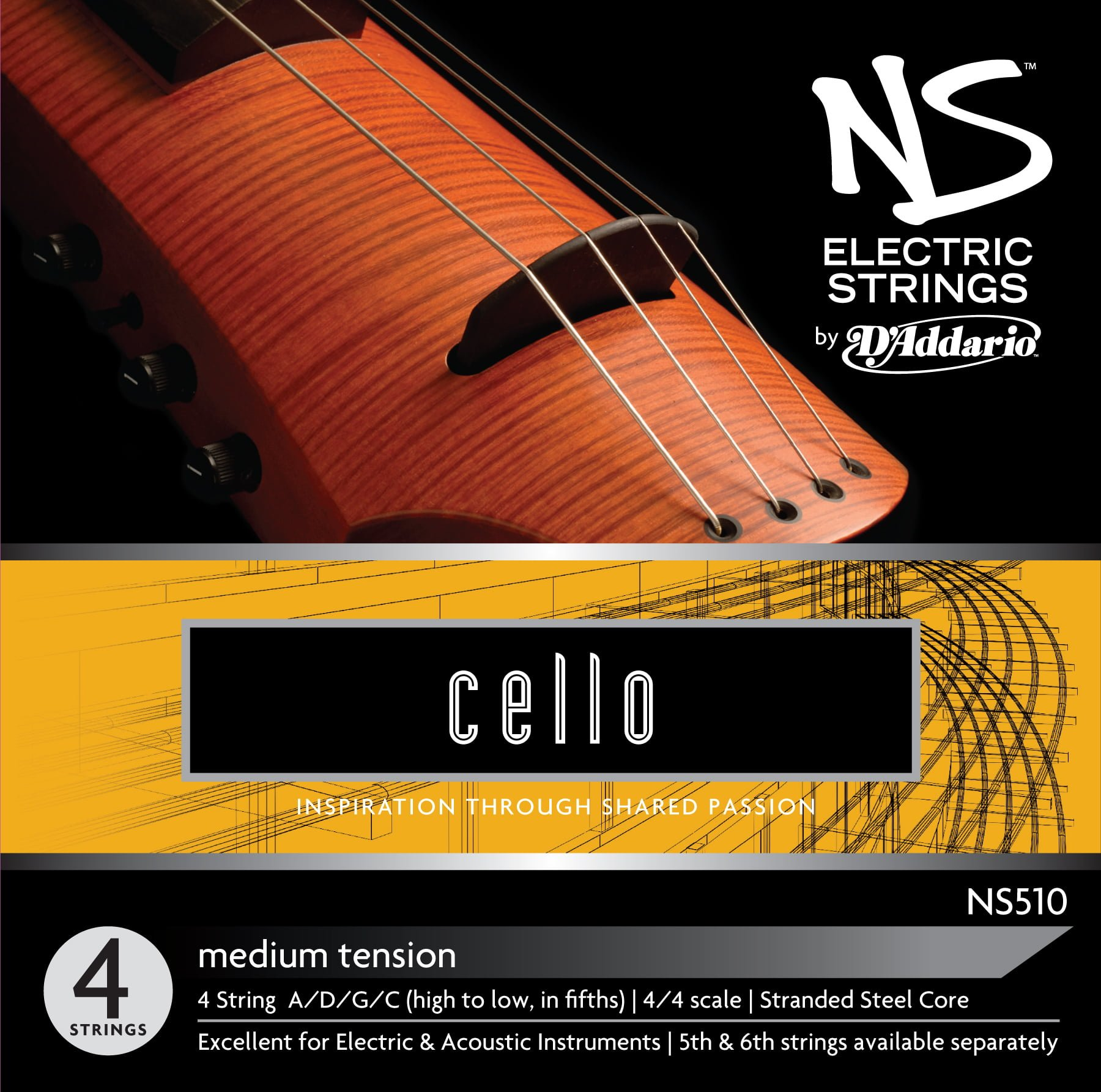 NS Electric Cello Set of Strings Medium